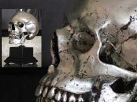 Human skull on pedestal