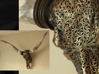 Longhorn gegraveerd  brons metalic