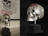 Mensen schedel replica Roos en zilver