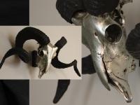 ram skull silver pewter