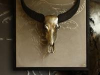 waterbuffel-schedel-op-wandpaneel-met-contour-silhouette-kleur-tin